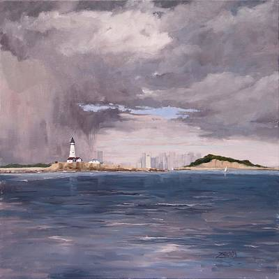 Storm Clouds Painting - Storm Over Boston by Laura Lee Zanghetti