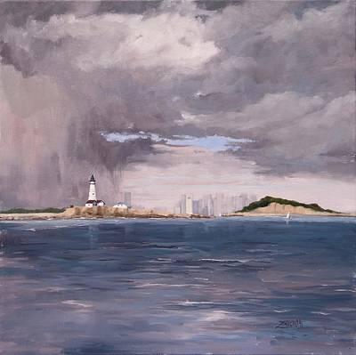Big Sky Painting - Storm Over Boston by Laura Lee Zanghetti