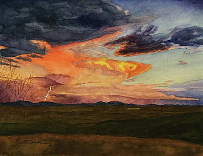 Storm Over Davis Mountains Original by C Wilton Simmons Jr