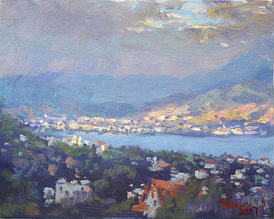 Storm Clouds Wall Art - Painting - Storm Over Dilesi And Evia Island  by Ylli Haruni