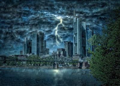 Lightning Bolt Photograph - Storm Over Frankfurt by Reinhold Silbermann