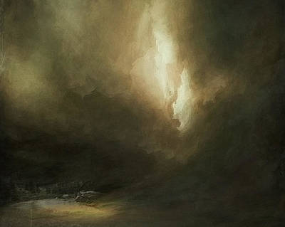 Sublime Digital Art - Storm Over Lake by Lonnie Christopher
