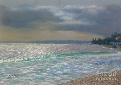 Pastel - Storm Over Queensland Beach ,nova Scotia by Rae  Smith PAC