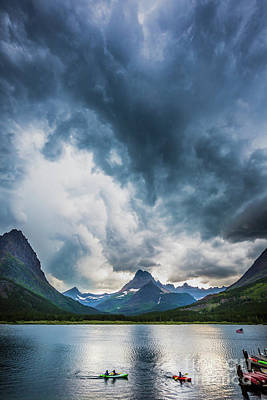 Reflective Surfaces Photograph - Storm Over Swiftcurrent Lake by Inge Johnsson