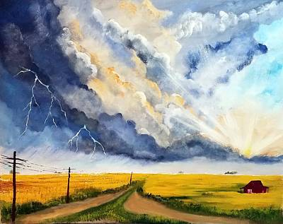 Storm Over The Country Road Art Print