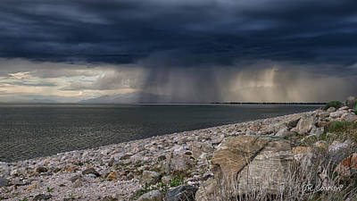 Photograph - Storm Over The Great Salt Lake by CR  Courson