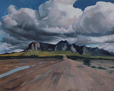 Painting - Storm Over The Superstitions by Barbara Barber