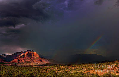 Photograph -  Storm Rainbow Back Of Zion National Park Utah by Dave Welling