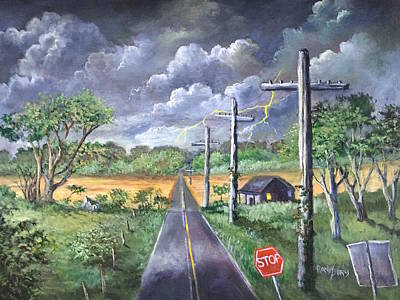 Stop Sign Painting -  Storm by Randy Burns