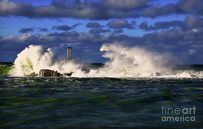 Photograph - Storm Surf Batters Breakwater by Nareeta Martin