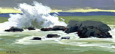 Ogunquit Marginal Way Painting - Storm Surf by Mary Byrom