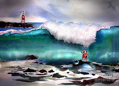 Painting - Storm Surf Moment by John Mabry