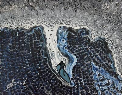 Painting - Storm Surfer Original Painting by Sol Luckman