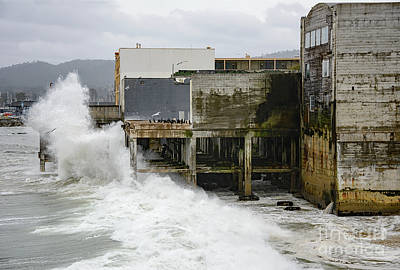 Art Print featuring the photograph Storm Waves Hit Aeneas Ruins At Cannery Row by Susan Wiedmann