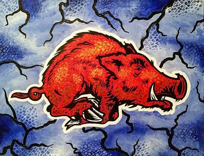 Razorback Drawing - Stormin' Hog by Russten Johnson