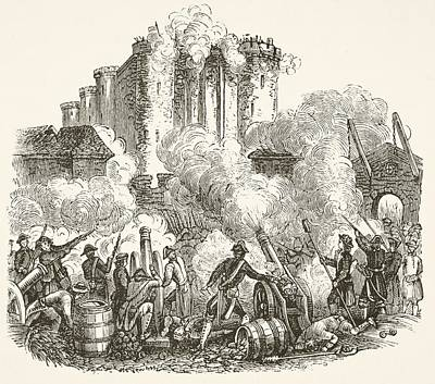 Storm Drawing - Storming Of The Bastille In Paris 14 by Vintage Design Pics