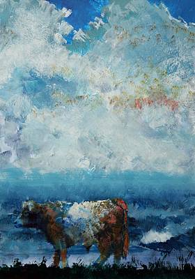 Painting - Storms Coming - Belted Galloway Cow Under A Colorful Cloudy Sky by Mike Jory