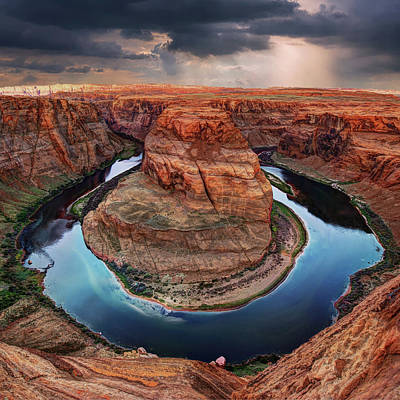 Photograph - Storms Over Horseshoe Bend - Page Arizona by Gregory Ballos