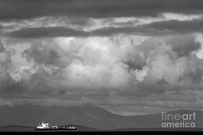Photograph - Storms Over The Cargo Ship - Black And White by Adam Jewell