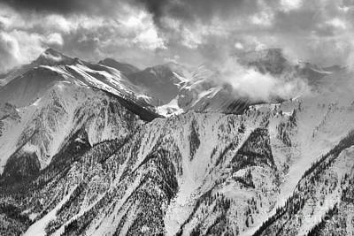 Photograph - Storms Over The Purcell Mountain Peaks - Black And White by Adam Jewell