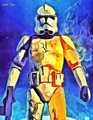 Fighter Digital Art - Stormtrooper Commander - Da by Leonardo Digenio