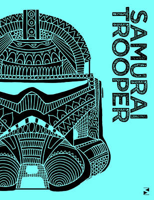 Royalty-Free and Rights-Managed Images - Stormtrooper Helmet - Blue - Star Wars Art by Studio Grafiikka