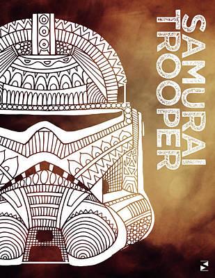 Scifi Mixed Media - Stormtrooper Helmet - Brown - Star Wars Art by Studio Grafiikka