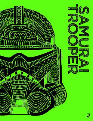 Scifi Mixed Media - Stormtrooper Helmet - Green - Star Wars Art by Studio Grafiikka