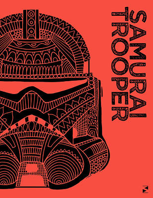 Royalty-Free and Rights-Managed Images - Stormtrooper Helmet - Red - Star Wars Art by Studio Grafiikka
