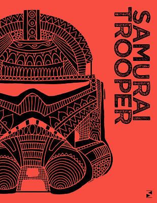 Stormtrooper Helmet - Red - Star Wars Art Art Print