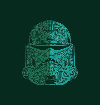 Mixed Media - Stormtrooper Helmet - Star Wars Art - Blue Green by Studio Grafiikka