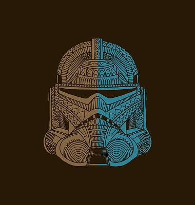 Mixed Media - Stormtrooper Helmet - Star Wars Art - Brown Blue by Studio Grafiikka