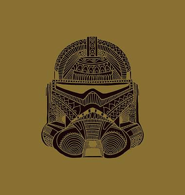 Mixed Media - Stormtrooper Helmet - Star Wars Art - Brown  by Studio Grafiikka