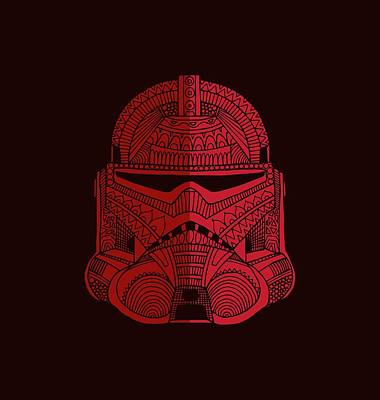 Mixed Media - Stormtrooper Helmet - Star Wars Art - Red by Studio Grafiikka
