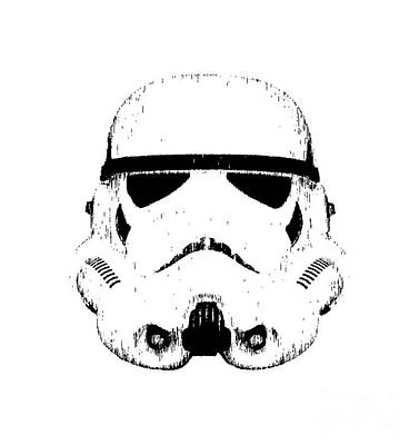 Stormtrooper Helmet Star Wars Tee Black Ink Art Print by Edward Fielding