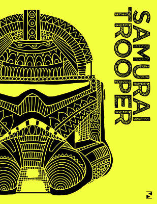 Scifi Mixed Media - Stormtrooper Helmet - Yellow - Star Wars Art by Studio Grafiikka