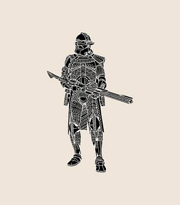 Mixed Media - Stormtrooper Samurai - Star Wars Art - Black by Studio Grafiikka