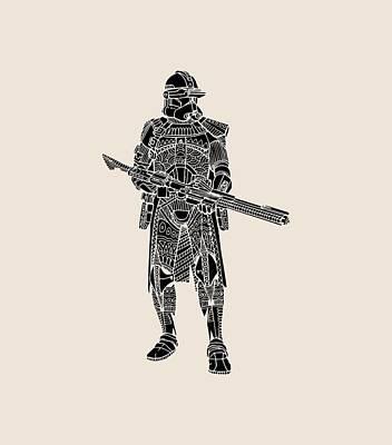 Soldiers Mixed Media - Stormtrooper Samurai - Star Wars Art - Black by Studio Grafiikka