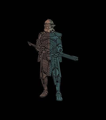 Film Mixed Media - Stormtrooper Samurai - Star Wars Art - Minimal by Studio Grafiikka