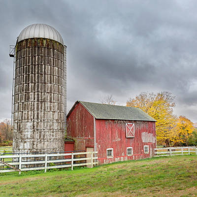 Old Farms Photograph - Stormy Autumn Skies Square by Bill Wakeley