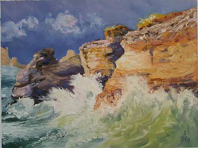 Painting - Stormy Cliffs At Sea by Sharon Casavant