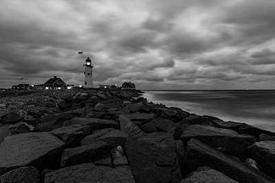 Photograph - Stormy Clouds Over Old Scituate Lighthouse In Black And White by Brian MacLean