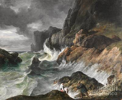 Stormy Weather Painting - Stormy Coast Scene After A Shipwreck by MotionAge Designs