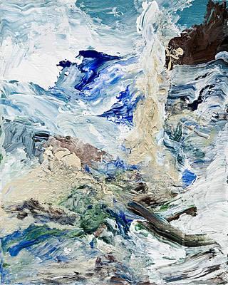 Abstract Seascape Mixed Media - Stormy Coastline by Deirdre Heller