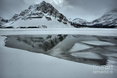 Photograph - Stormy Crowfoot Mountain Reflctions In Bow Lake by Adam Jewell