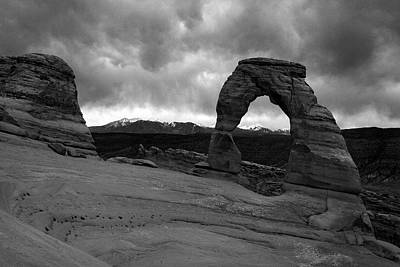 Photograph - Stormy Delicate Arch Black And White by Pierre Leclerc Photography