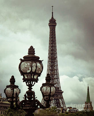 Photograph - Stormy Eiffel Tower With Lamppost  by Marina McLain