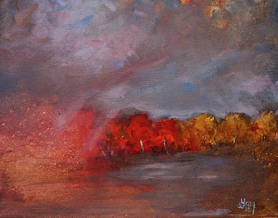 Painting - Stormy Fall Landscape Red Yellow Leaves by Gray Artus