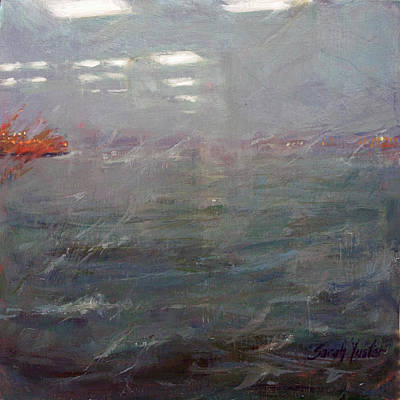 Painting - Stormy Harbor Commute #2 by Sarah Yuster
