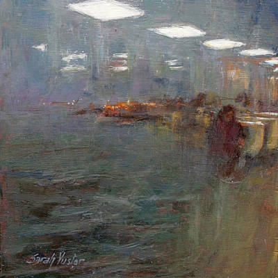 Painting - Stormy Harbor Commute #3 by Sarah Yuster